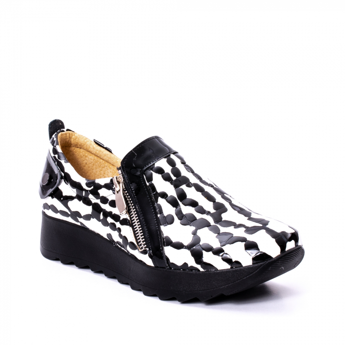 Pantofi casual dama piele naturala Nike Invest 340, alb-negru 0