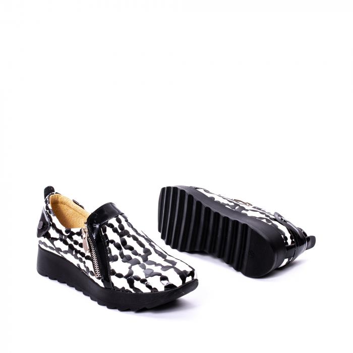 Pantofi casual dama piele naturala Nike Invest 340, alb-negru 3