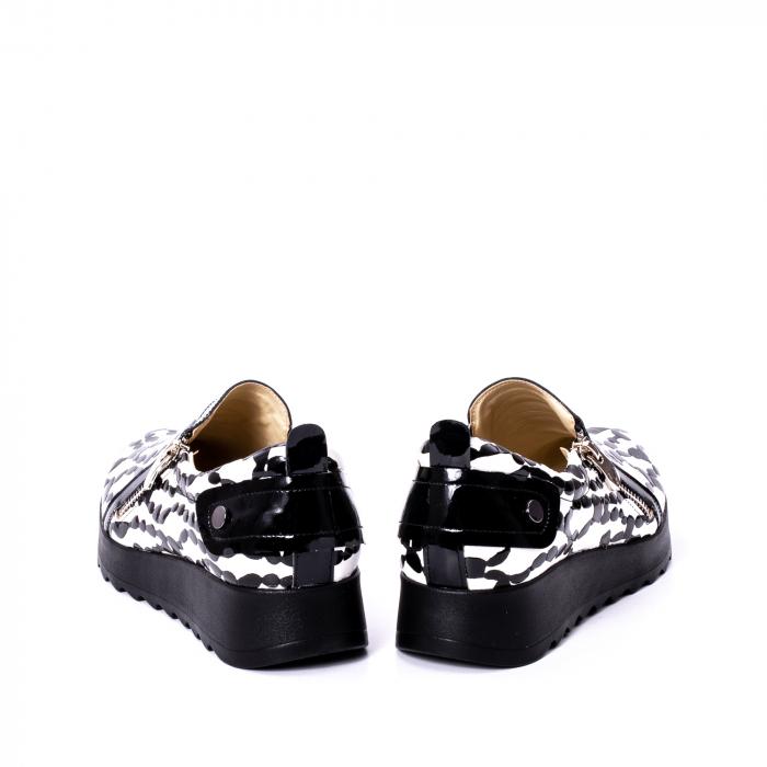 Pantofi casual dama piele naturala Nike Invest 340, alb-negru 6