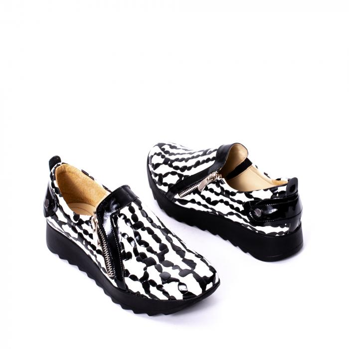 Pantofi casual dama piele naturala Nike Invest 340, alb-negru 2