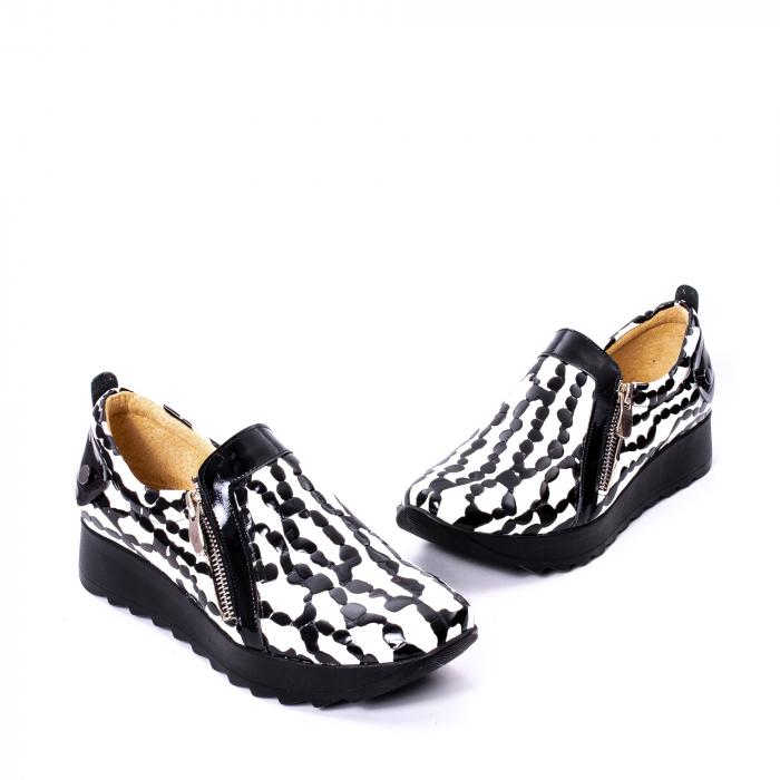 Pantofi casual dama piele naturala Nike Invest 340, alb-negru 1