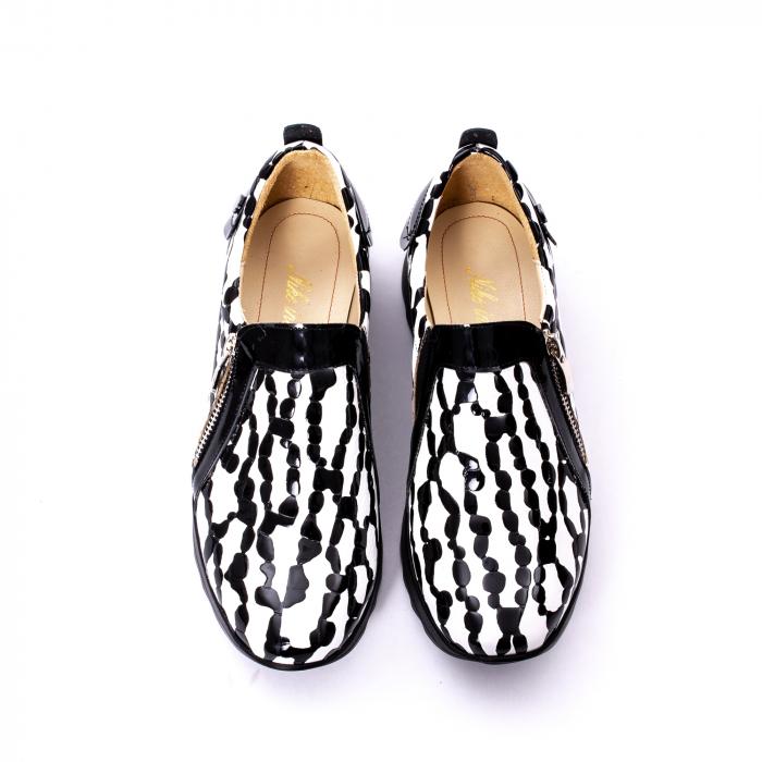 Pantofi casual dama piele naturala Nike Invest 340, alb-negru 5