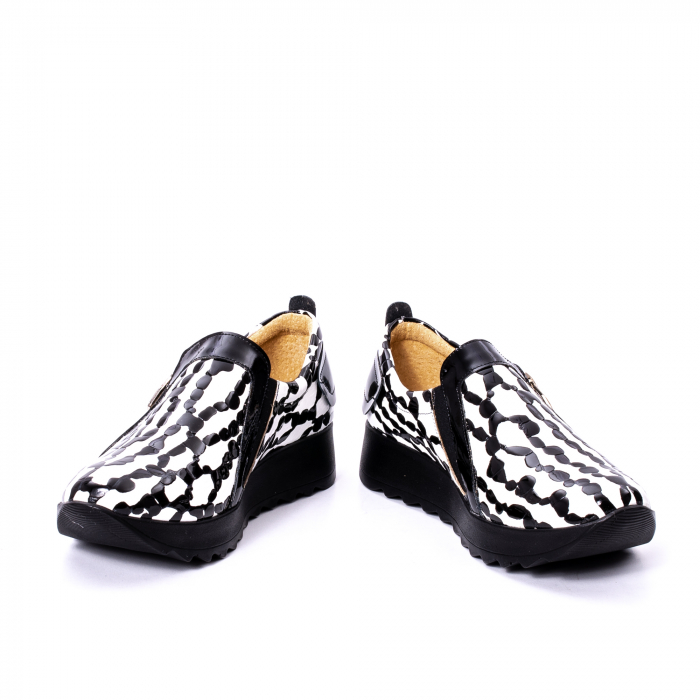 Pantofi casual dama piele naturala Nike Invest 340, alb-negru 4
