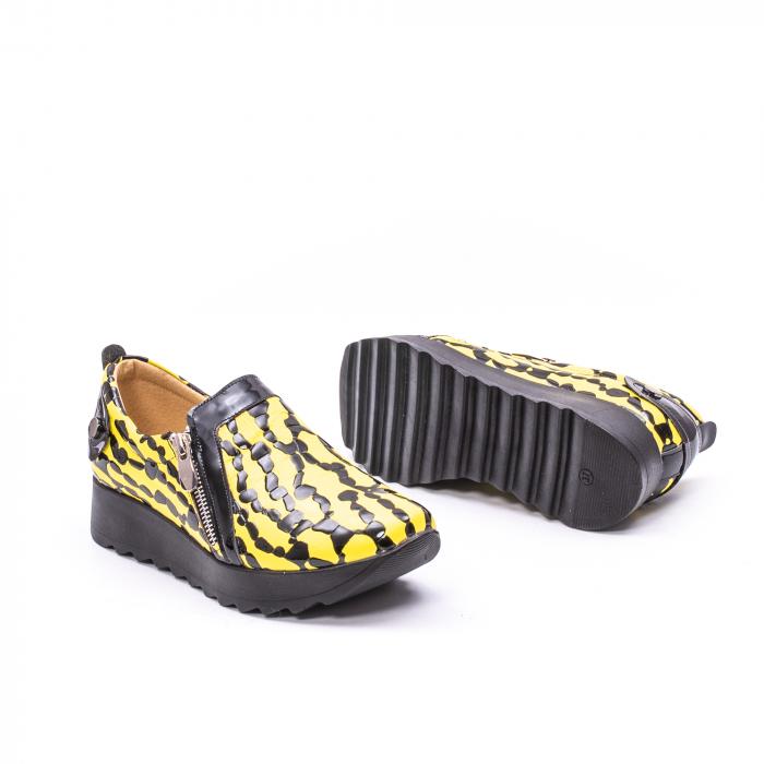 Pantofi casual dama piele naturala Nike Invest  340 galben/negru 3