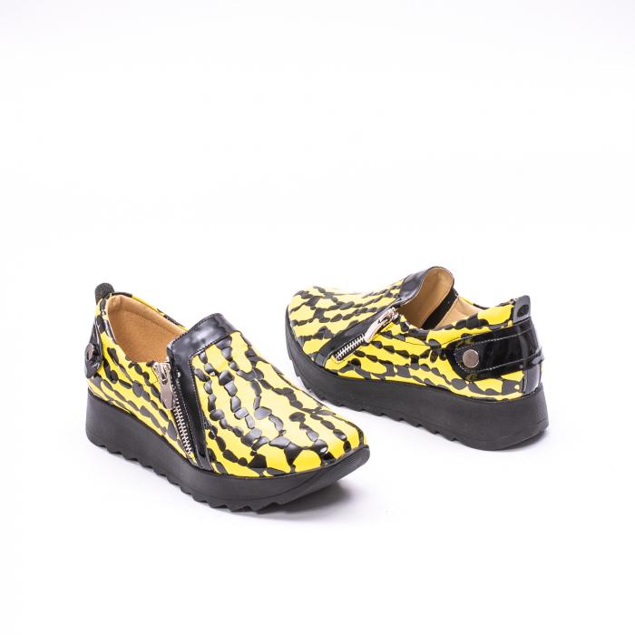 Pantofi casual dama piele naturala Nike Invest  340 galben/negru 2