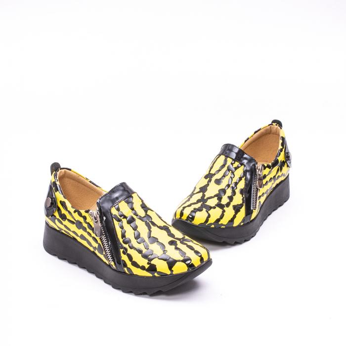 Pantofi casual dama piele naturala Nike Invest  340 galben/negru 1