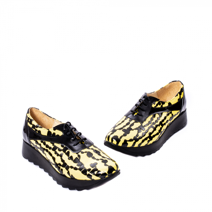 Pantofi casual dama piele naturala Nike Invest 346, galben/negru 1