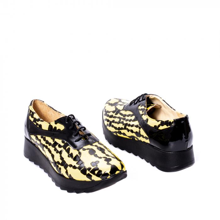 Pantofi casual dama piele naturala Nike Invest 346, galben/negru 2