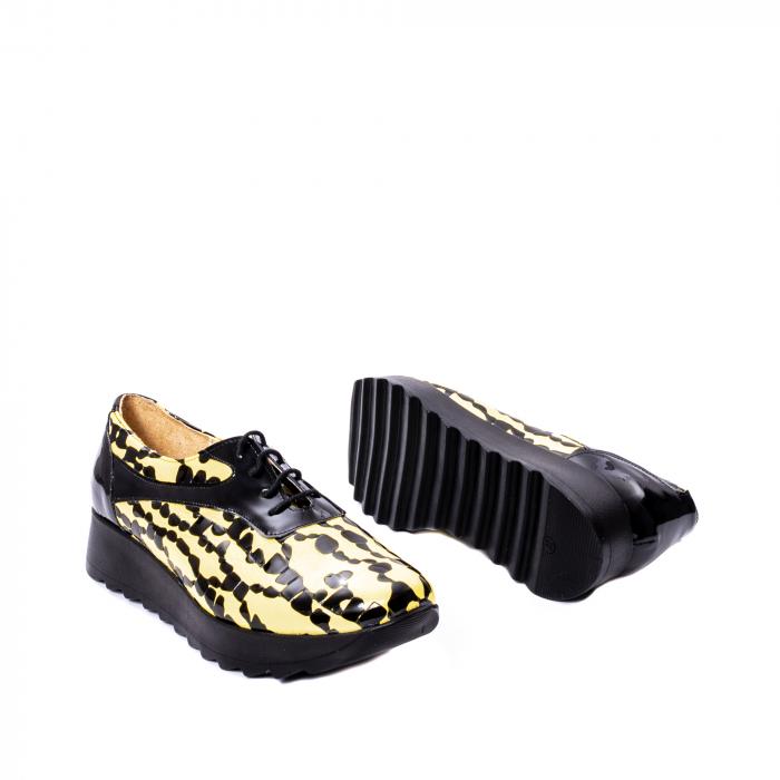 Pantofi casual dama piele naturala Nike Invest 346, galben/negru 3
