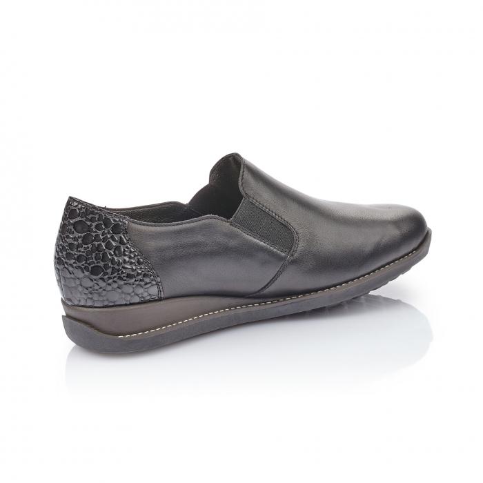 Pantofi casual dama, piele naturala Rieker 44264, negru 3