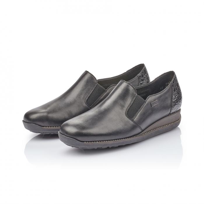 Pantofi casual dama, piele naturala Rieker 44264, negru 4