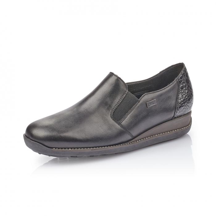 Pantofi casual dama, piele naturala Rieker 44264, negru 0