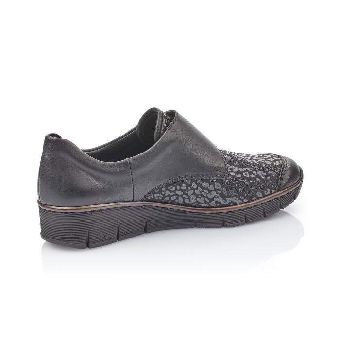 Pantofi casual dama piele naturala Rieker 537C0-00, negru 1