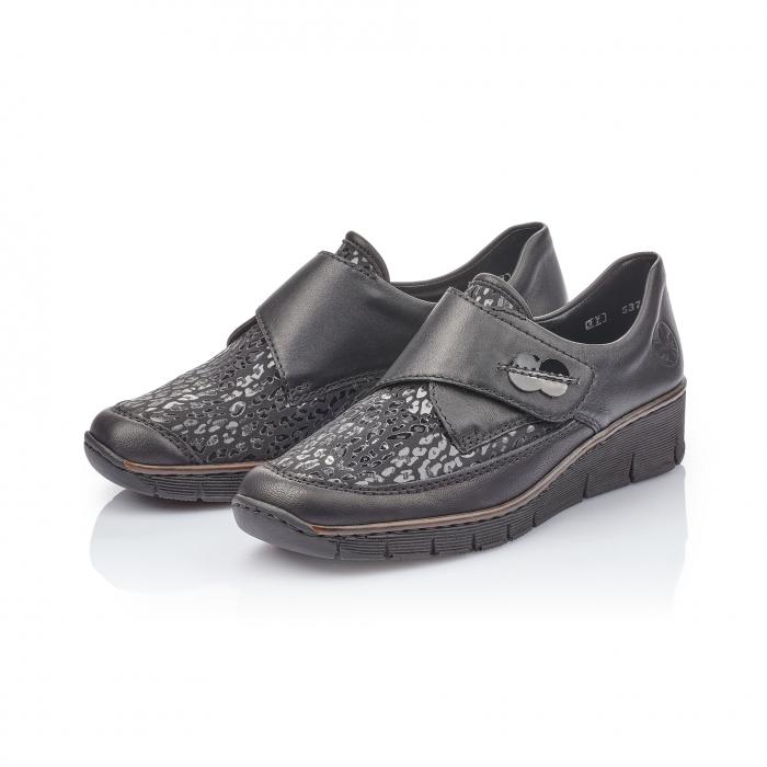 Pantofi casual dama piele naturala Rieker 537C0-00, negru 2