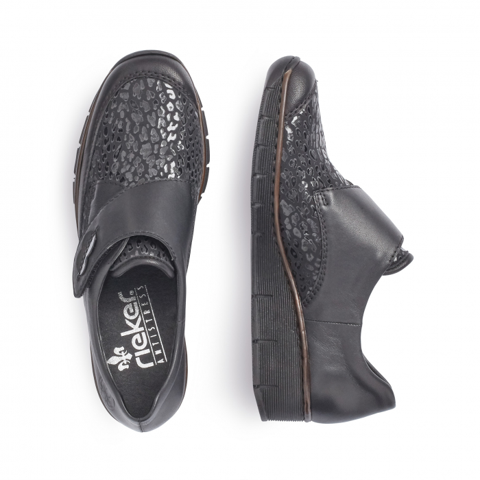 Pantofi casual dama piele naturala Rieker 537C0-00, negru 4