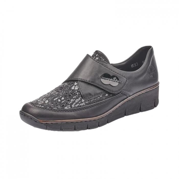 Pantofi casual dama piele naturala Rieker 537C0-00, negru 0
