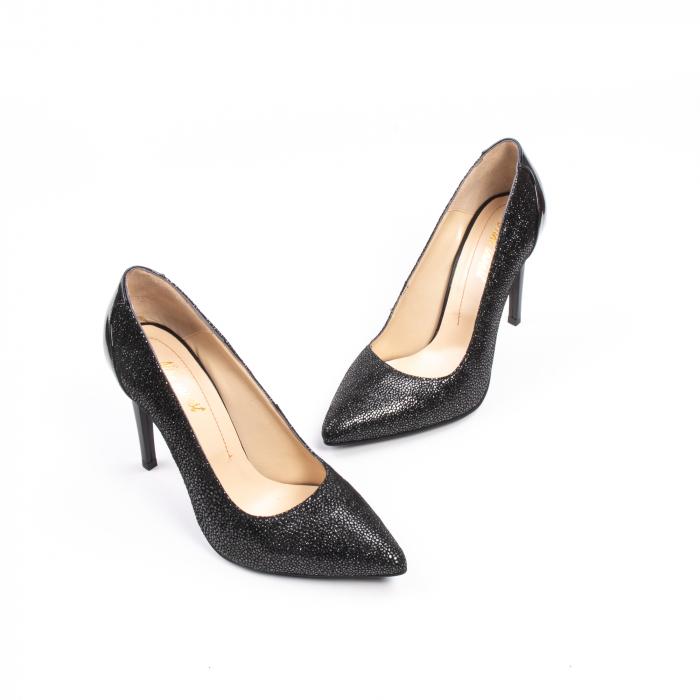 Pantofi dama piele naturala peliculizata Nike Invest 329-ngnl, negru lucios 1