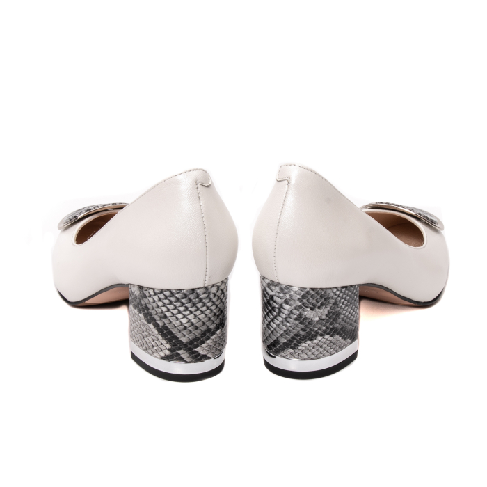Pantofi dama piele naturala Epica W85 alb/snacke 4
