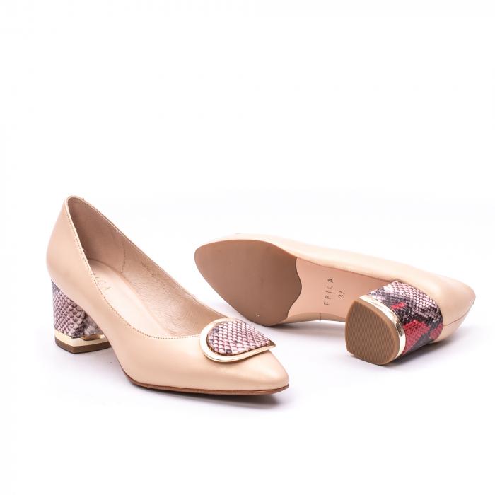 Pantofi dama piele naturala Epica W85 nude/snacke 2