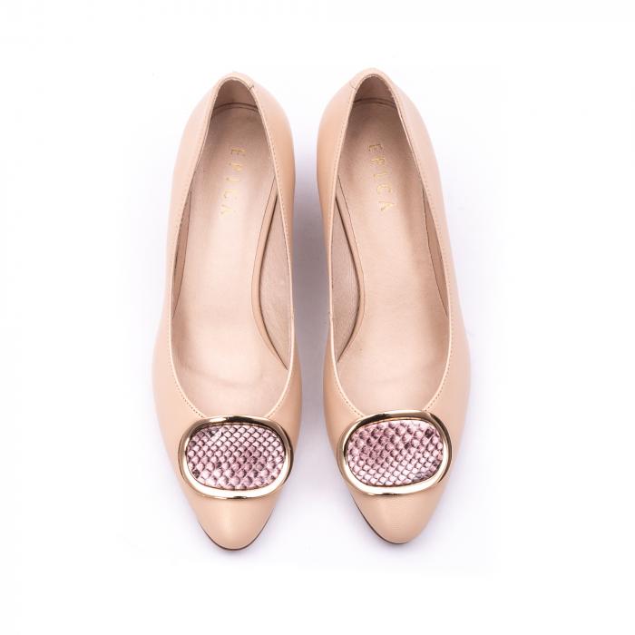 Pantofi dama piele naturala Epica W85 nude/snacke 4