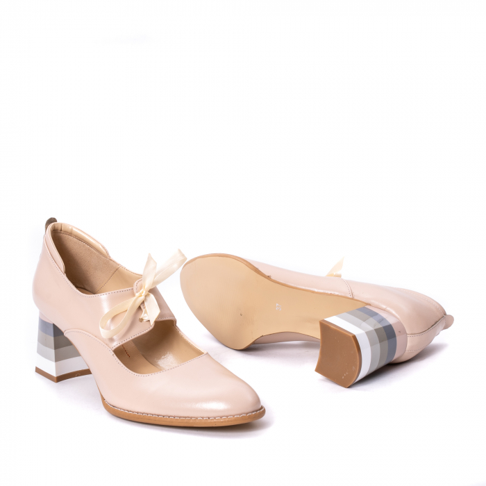 Pantofi dama piele naturala Nike Invest 327B, nude 3