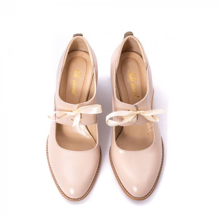 Pantofi dama piele naturala Nike Invest 327B, nude 5