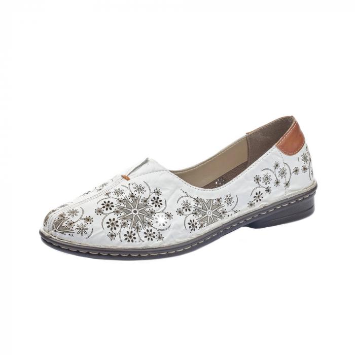 Pantofi vara femei, piele naturala, Rieker 48456-80, alb 0