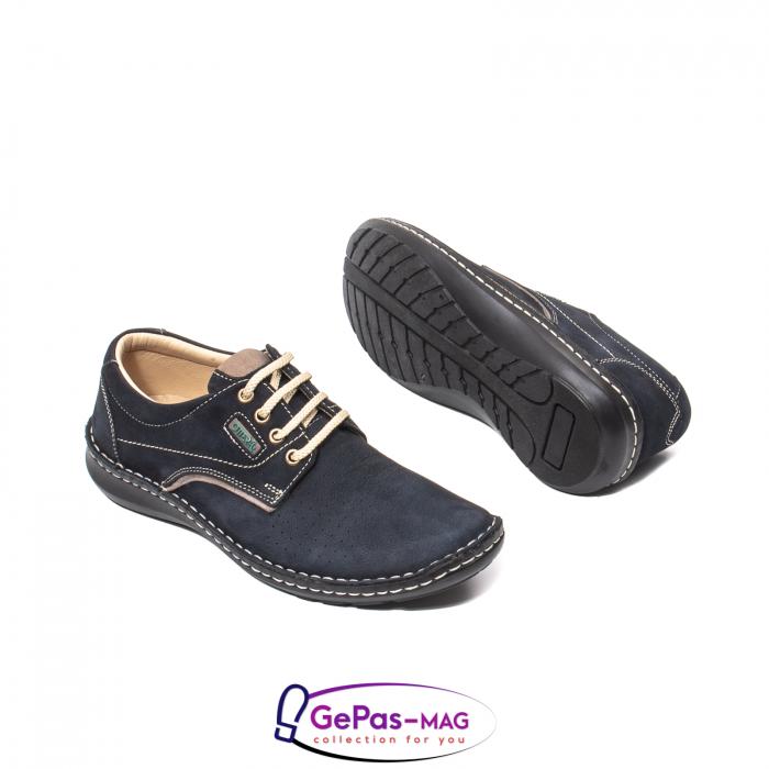 Pantofi de vara barbat, piele naturala, 9553 bleumarin 3