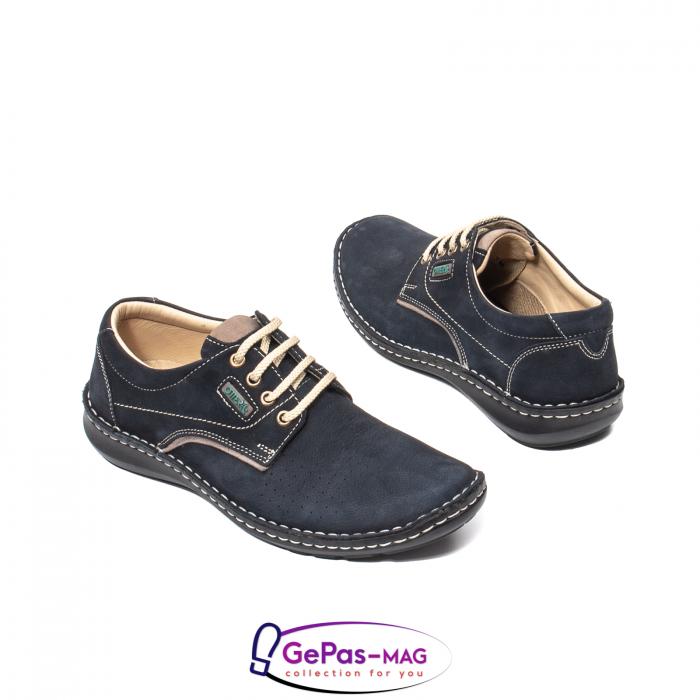 Pantofi de vara barbat, piele naturala, 9553 bleumarin 2