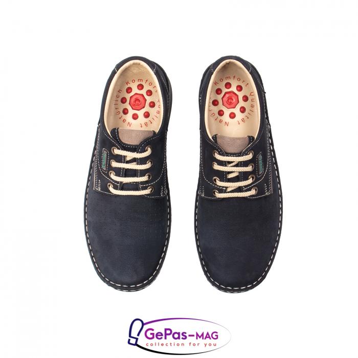 Pantofi de vara barbat, piele naturala, 9553 bleumarin 5