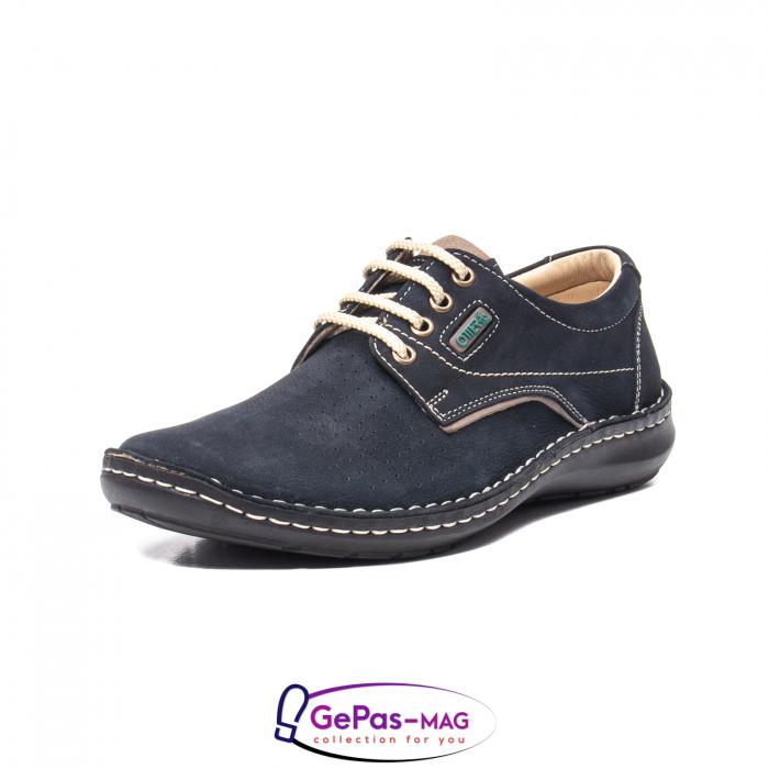Pantofi de vara barbat, piele naturala, 9553 bleumarin 0