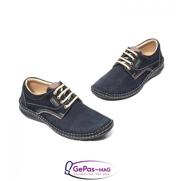 Pantofi de vara barbat, piele naturala, 9553 bleumarin 1