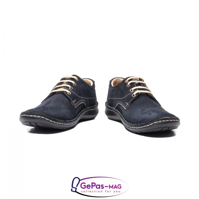 Pantofi de vara barbat, piele naturala, 9553 bleumarin 4