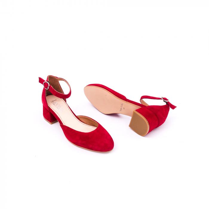 Pantofi decupati dama LFX 221 rosu velur 3