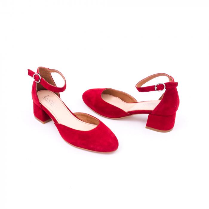 Pantofi decupati dama LFX 221 rosu velur 2