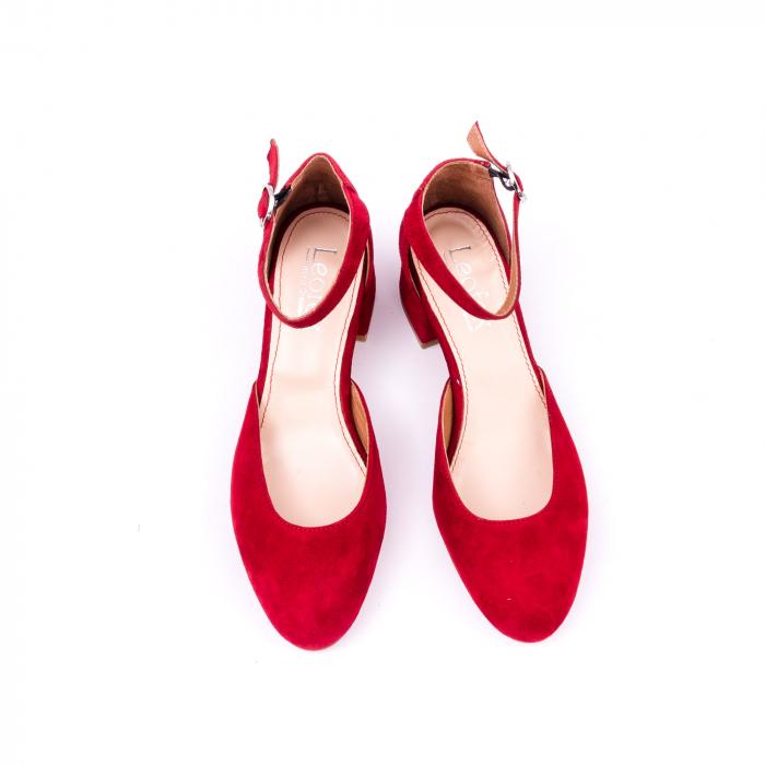 Pantofi decupati dama LFX 221 rosu velur 5