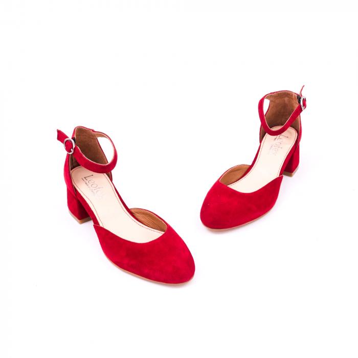 Pantofi decupati dama LFX 221 rosu velur 1