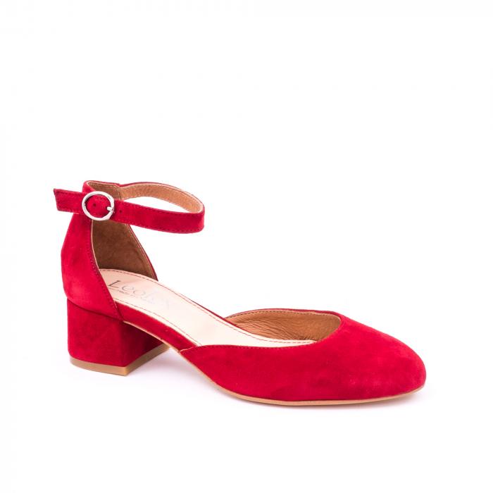 Pantofi decupati dama LFX 221 rosu velur 0
