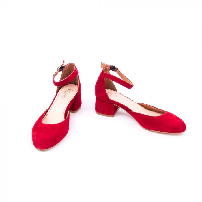 Pantofi decupati dama LFX 221 rosu velur 4