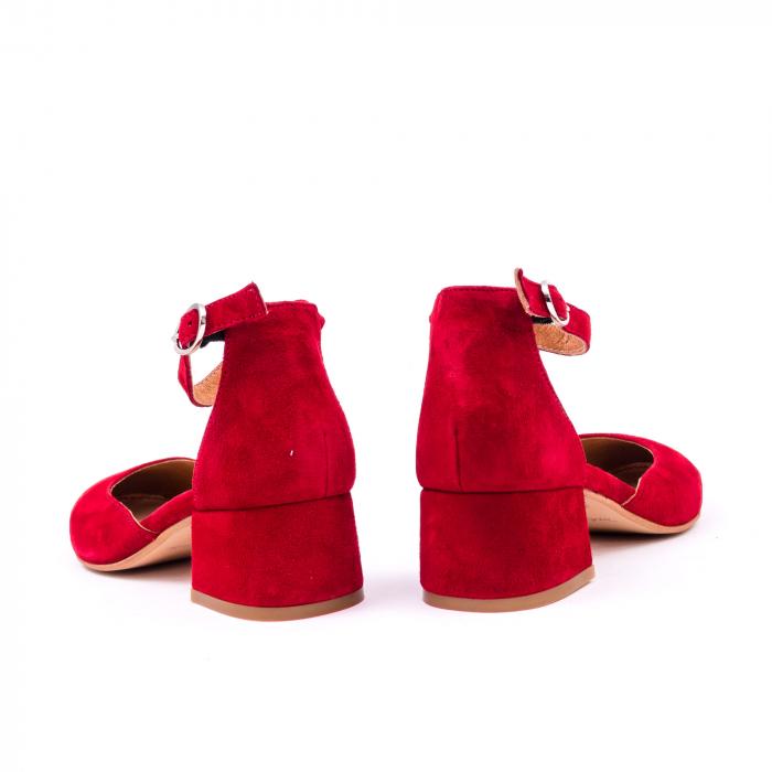 Pantofi decupati dama LFX 221 rosu velur 6