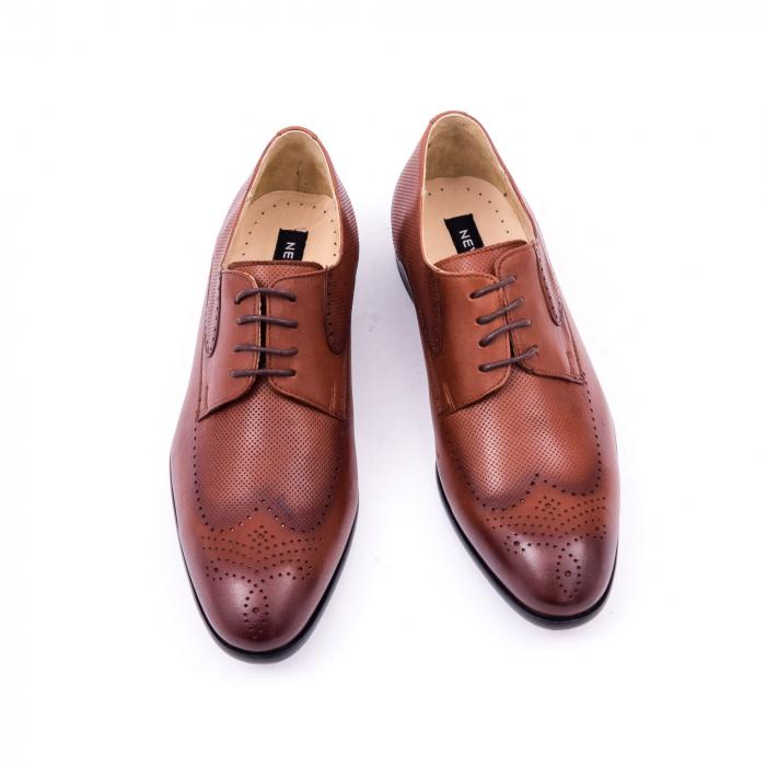 Pantofi barbati eleganti, piele naturala, Nevalis 116, coniac [5]