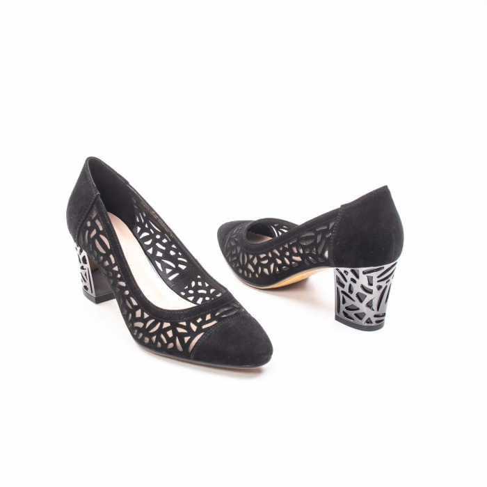 Pantofi eleganti dama, piele naturala 675, negru [2]