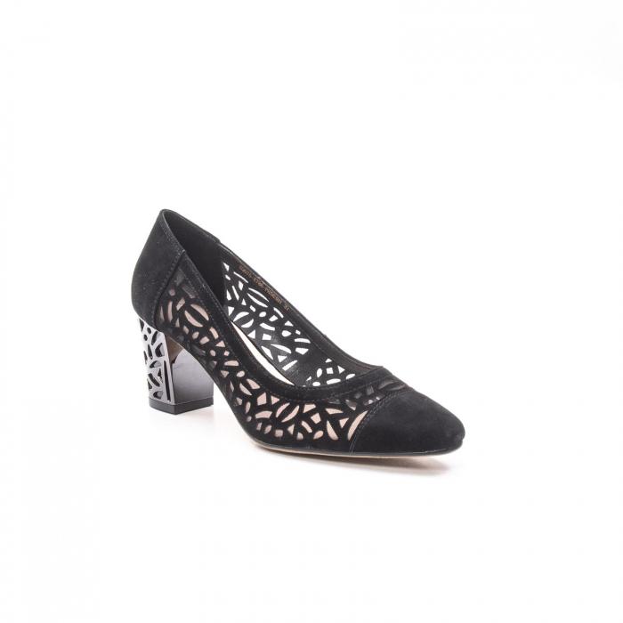 Pantofi eleganti dama, piele naturala 675, negru [0]