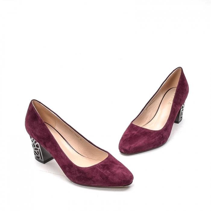 Pantofi dama eleganti din piele naturala, JIXQ675-DA037, bordo - Epica 1