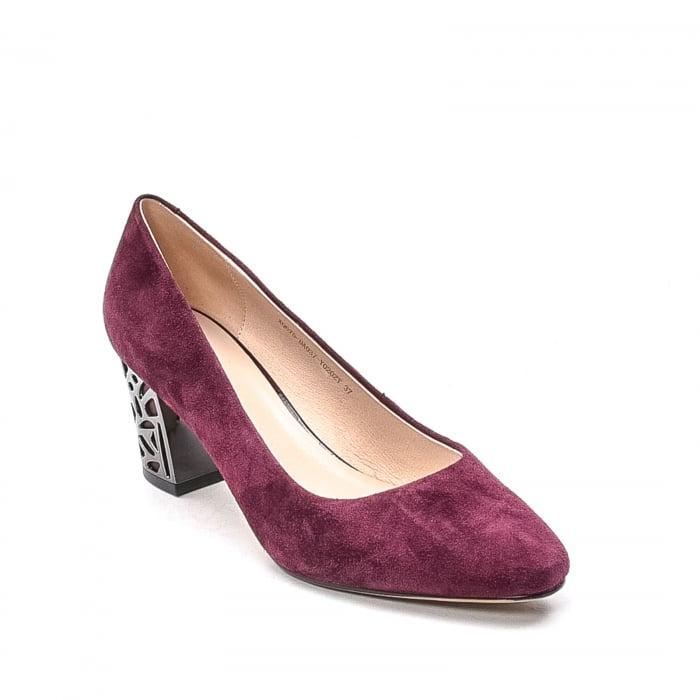 Pantofi dama eleganti din piele naturala, JIXQ675-DA037, bordo - Epica 0