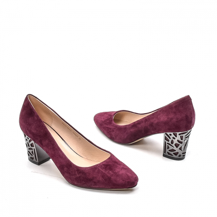 Pantofi dama eleganti din piele naturala, JIXQ675-DA037, bordo - Epica 2