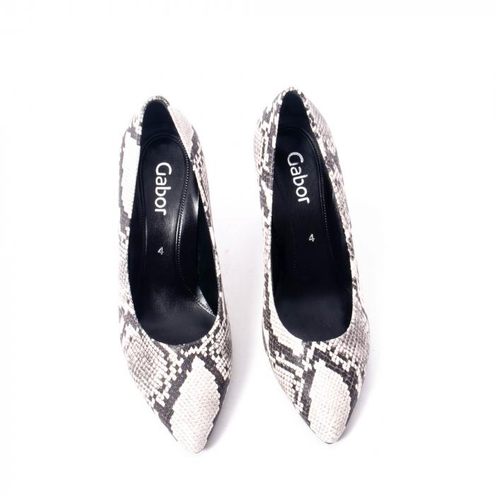 Pantofi eleganti dama piele naturala Gabor 3138030, python grau 5