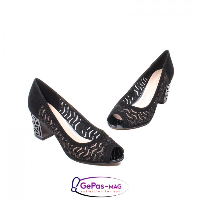 Pantofi dama cu toc mediu din piele naturala de antilopa , EP8563T 1