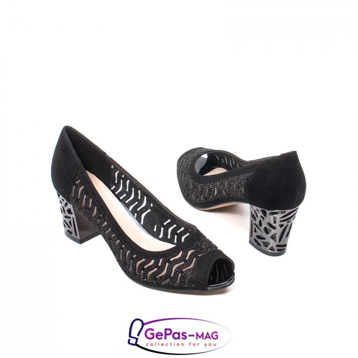 Pantofi dama cu toc mediu din piele naturala de antilopa , EP8563T 2
