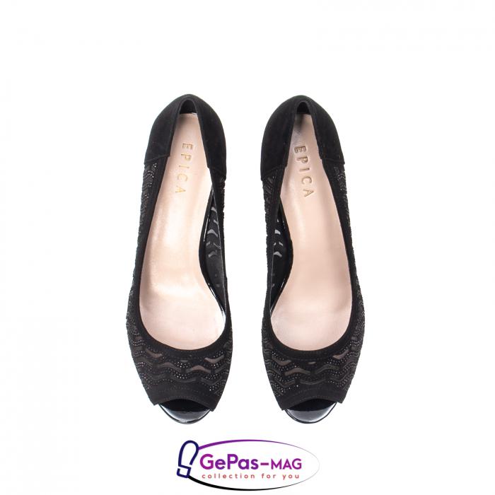 Pantofi dama cu toc mediu din piele naturala de antilopa , EP8563T 5